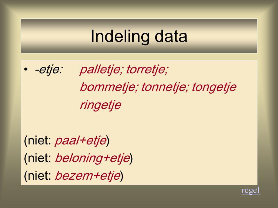 Indeling data -etje: palletje; torretje; bommetje; tonnetje; tongetje