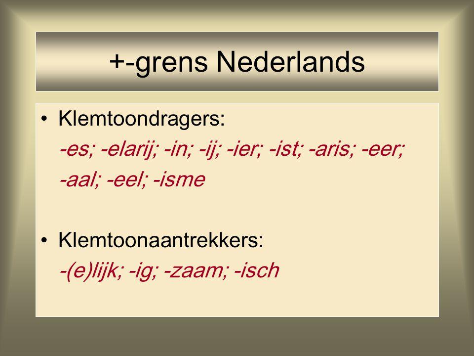 +-grens Nederlands Klemtoondragers: