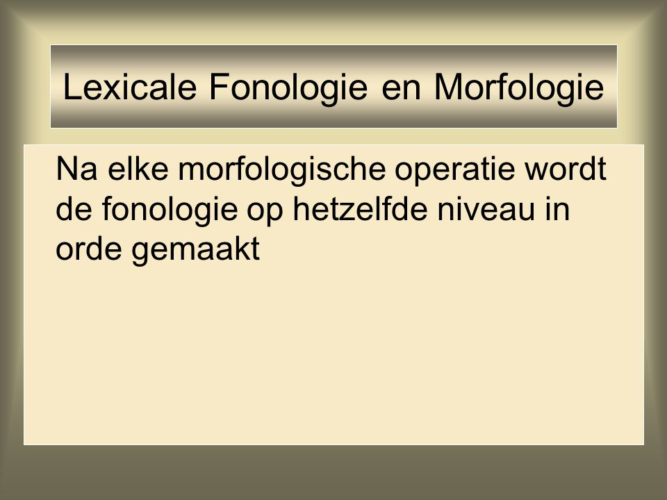 Lexicale Fonologie en Morfologie