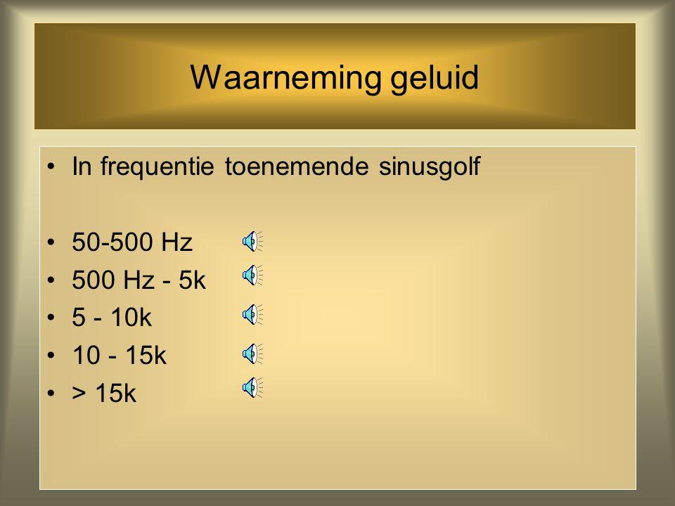 Waarneming geluid In frequentie toenemende sinusgolf 50-500 Hz
