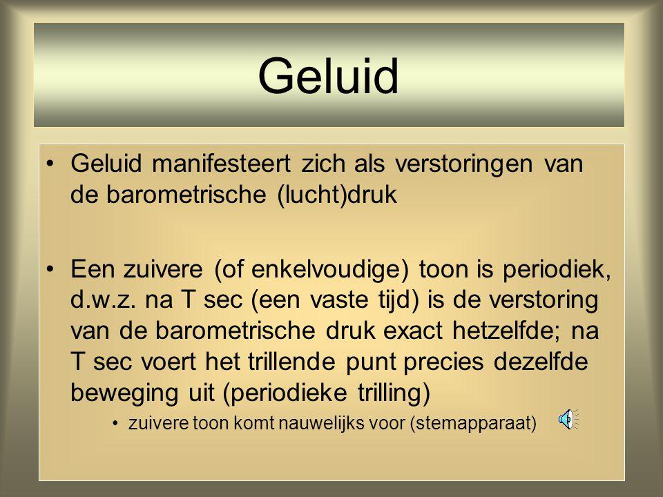 Geluid Geluid manifesteert zich als verstoringen van de barometrische (lucht)druk.