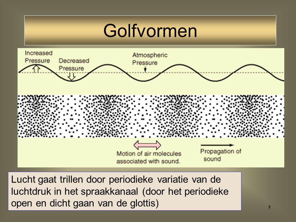 Golfvormen Lucht gaat trillen door periodieke variatie van de luchtdruk in het spraakkanaal (door het periodieke open en dicht gaan van de glottis)