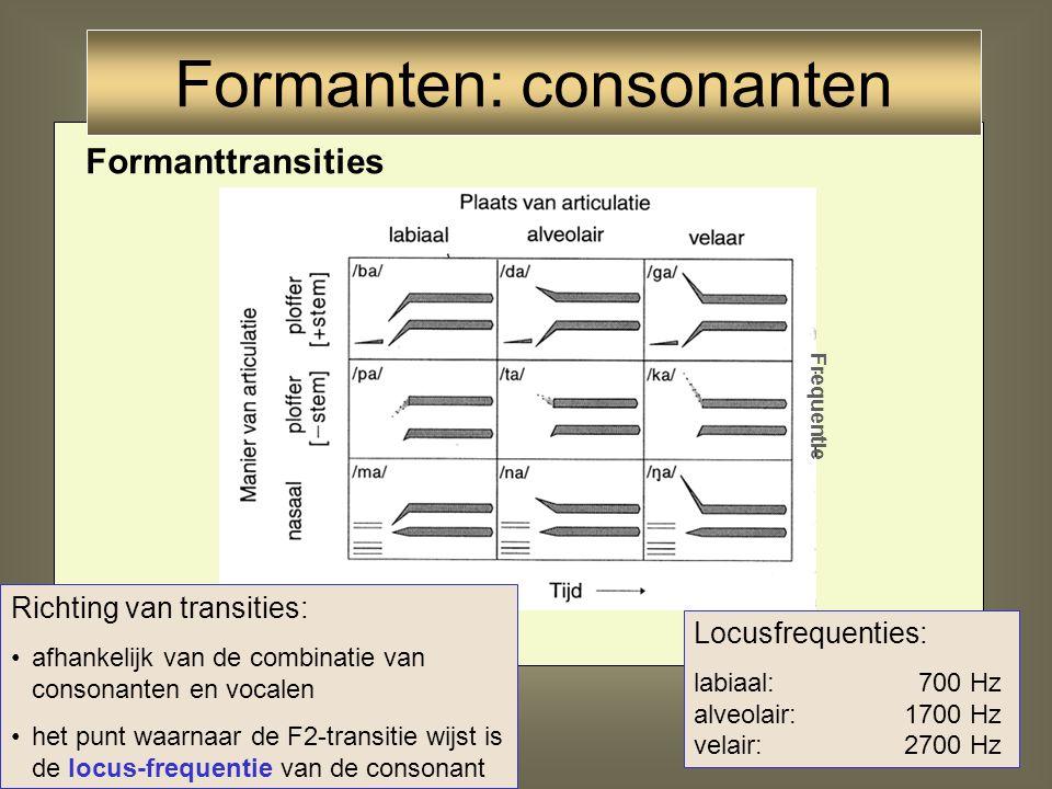 Formanten: consonanten