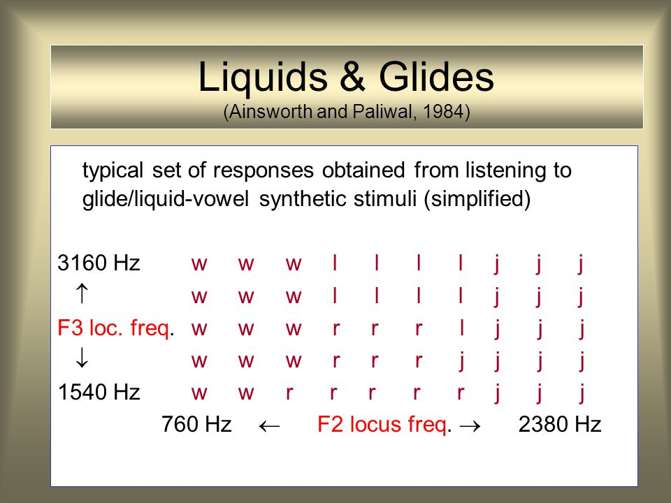 Liquids & Glides (Ainsworth and Paliwal, 1984)