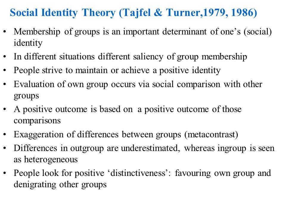 Social Identity Theory (Tajfel & Turner,1979, 1986)