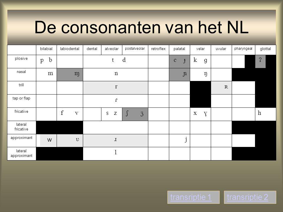 De consonanten van het NL