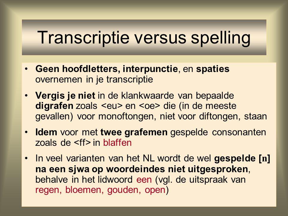 Transcriptie versus spelling