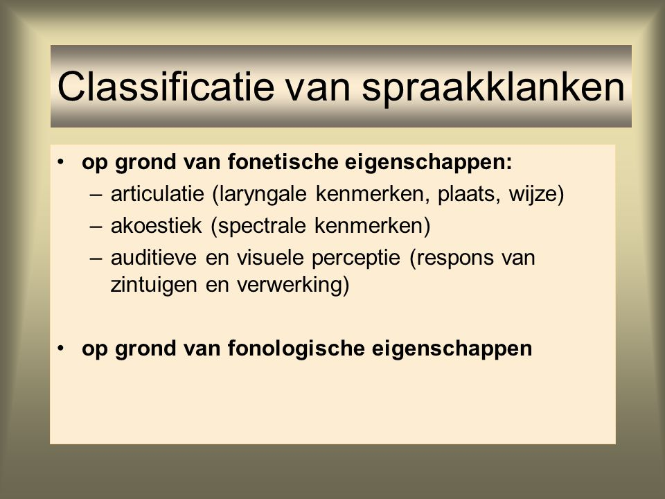 Classificatie van spraakklanken