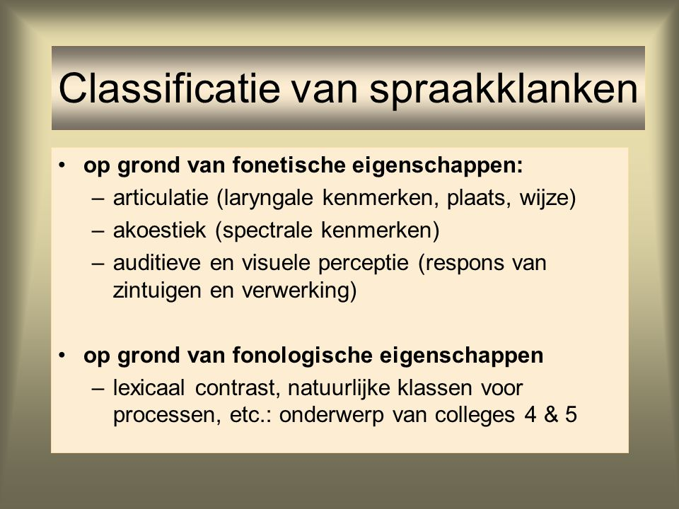 Classificatie van spraakklanken
