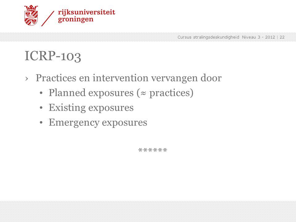 ICRP-103 Practices en intervention vervangen door