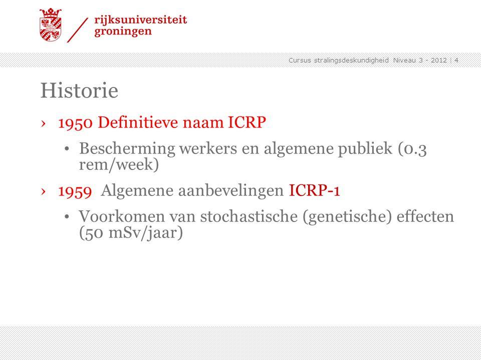 Historie 1950 Definitieve naam ICRP