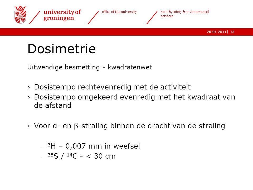 Dosimetrie Dosistempo rechtevenredig met de activiteit