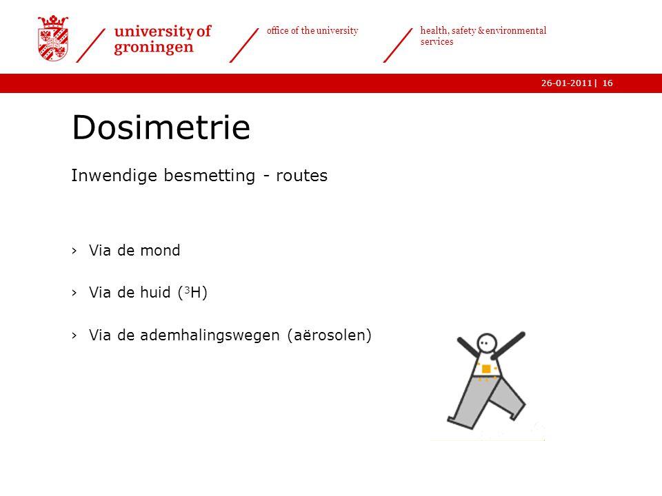 Dosimetrie Inwendige besmetting - routes Via de mond Via de huid (3H)