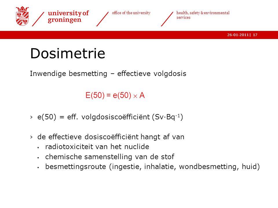 Dosimetrie Inwendige besmetting – effectieve volgdosis. E(50) = e(50)  A. e(50) = eff. volgdosiscoëfficiënt (Sv·Bq-1)