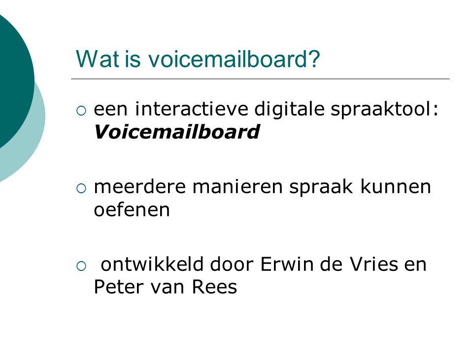 Wat is voicemailboard een interactieve digitale spraaktool: Voicemailboard. meerdere manieren spraak kunnen oefenen.