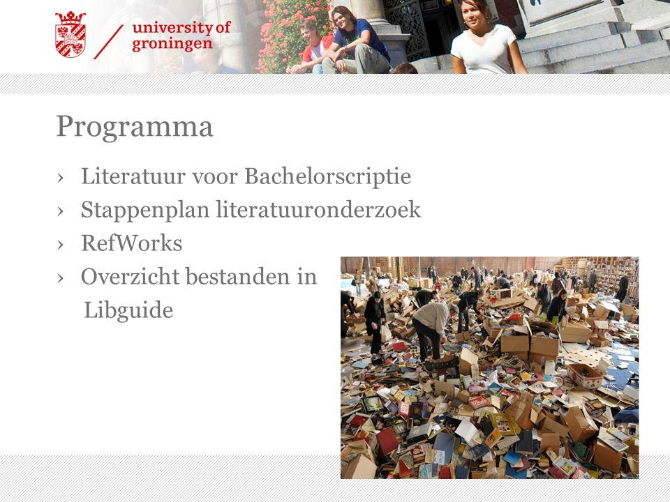 Programma Literatuur voor Bachelorscriptie