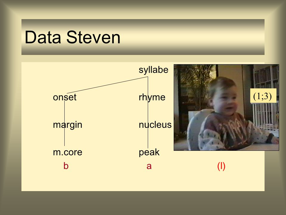 Data Steven syllabe onset rhyme margin nucleus m.core peak b a (l)