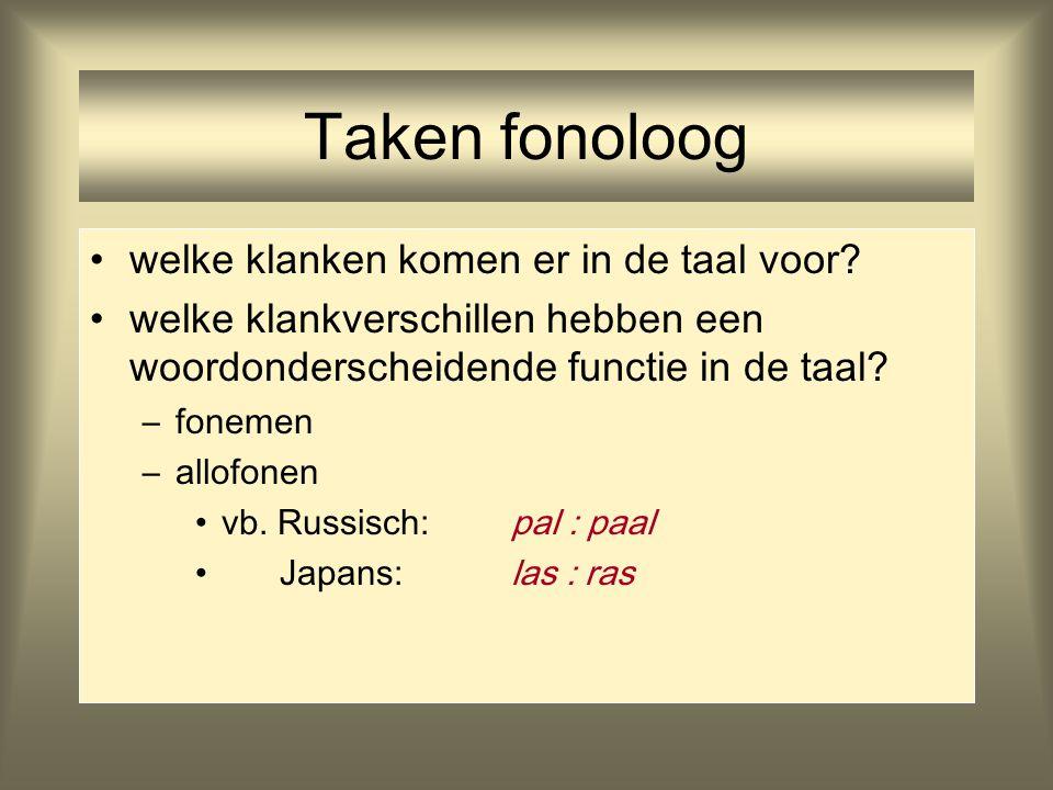 Taken fonoloog welke klanken komen er in de taal voor