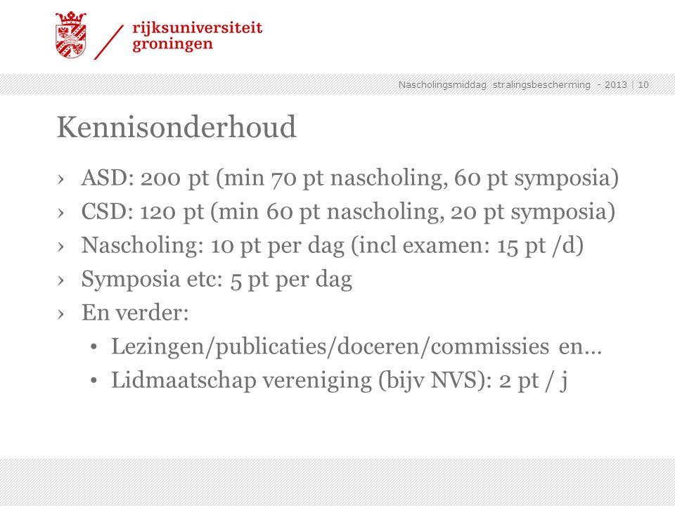 Kennisonderhoud ASD: 200 pt (min 70 pt nascholing, 60 pt symposia)