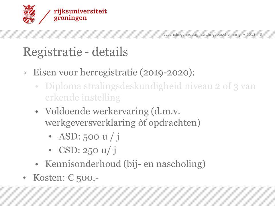 Registratie - details Eisen voor herregistratie (2019-2020):