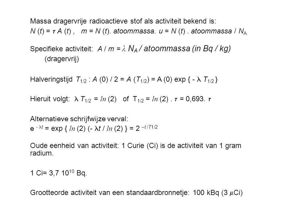 Massa dragervrije radioactieve stof als activiteit bekend is: