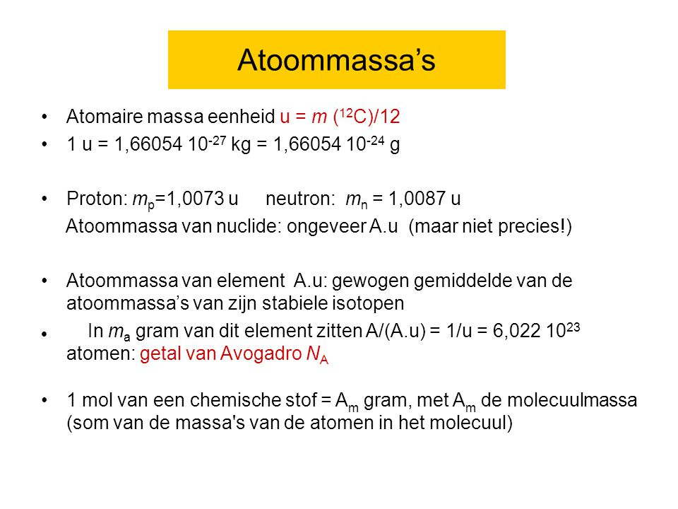 Atoommassa's Atomaire massa eenheid u = m (12C)/12