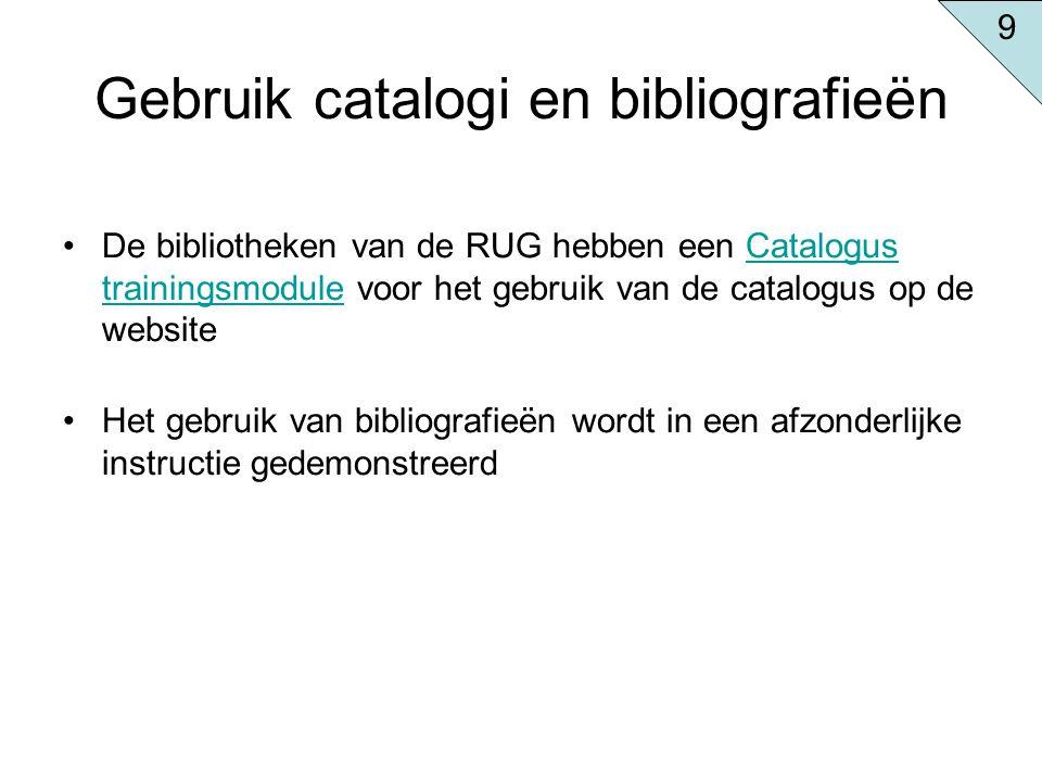 Gebruik catalogi en bibliografieën