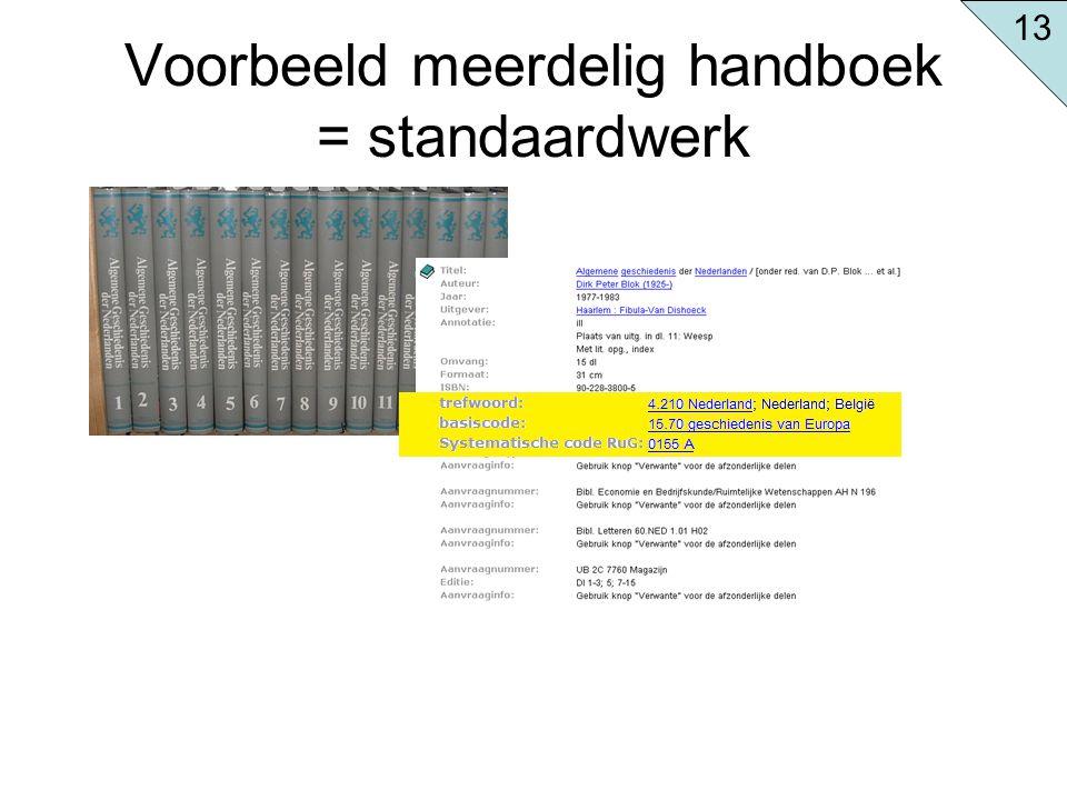 Voorbeeld meerdelig handboek = standaardwerk