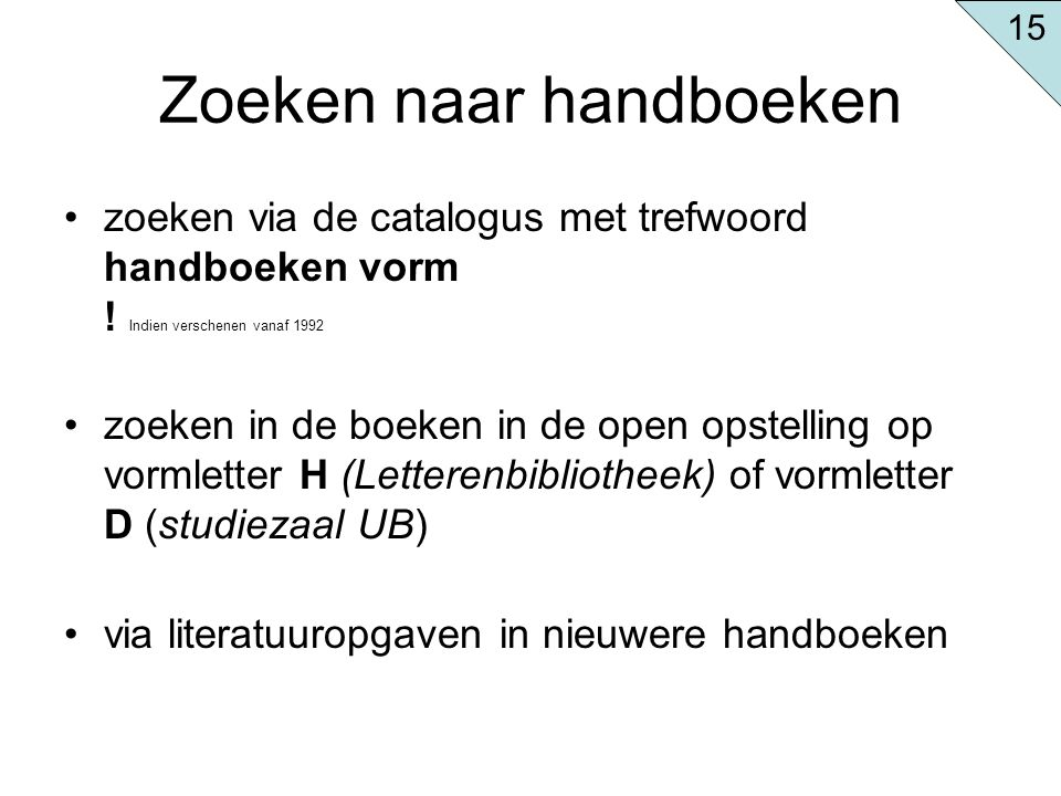 Zoeken naar handboeken