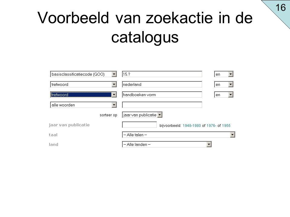 Voorbeeld van zoekactie in de catalogus