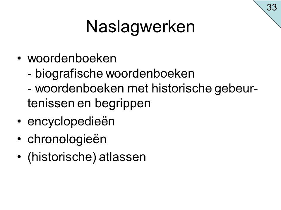 33 Naslagwerken. woordenboeken - biografische woordenboeken - woordenboeken met historische gebeur-tenissen en begrippen.