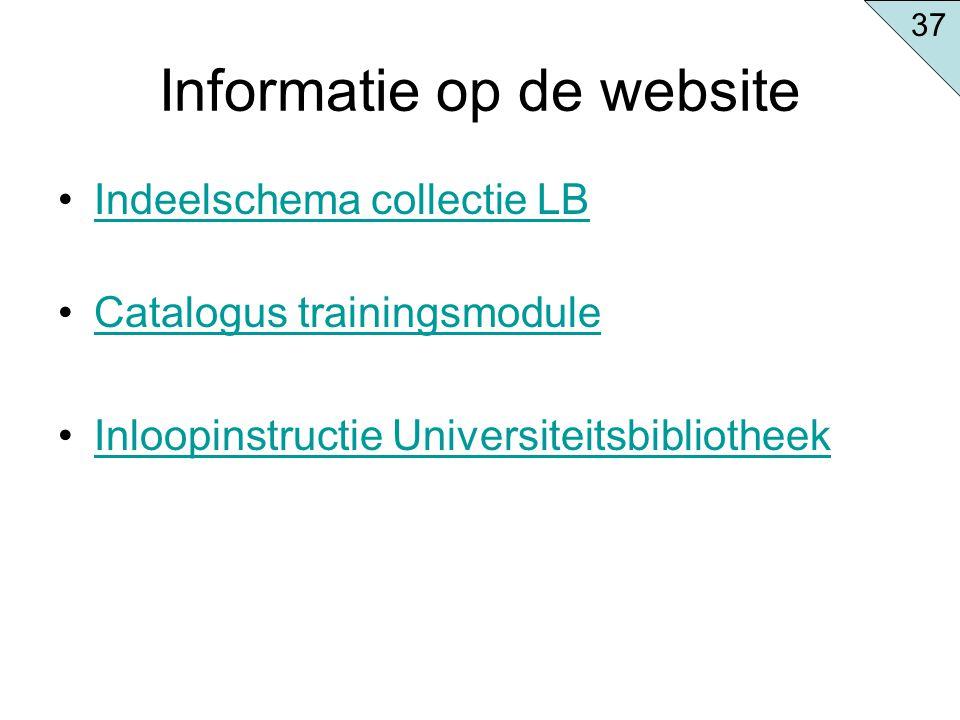 Informatie op de website