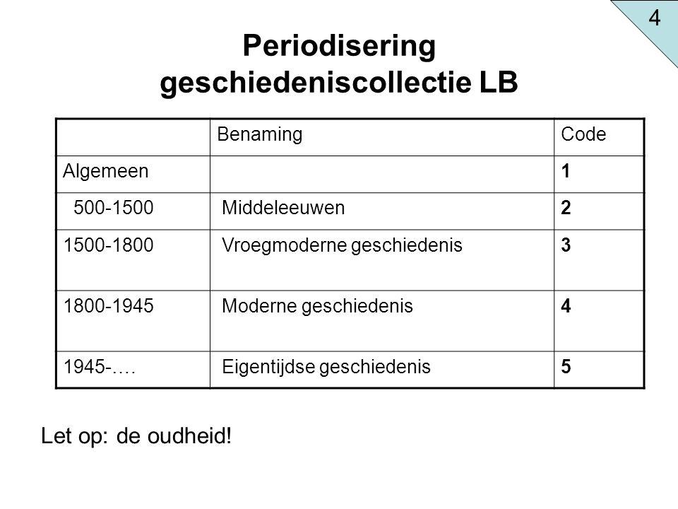 Periodisering geschiedeniscollectie LB