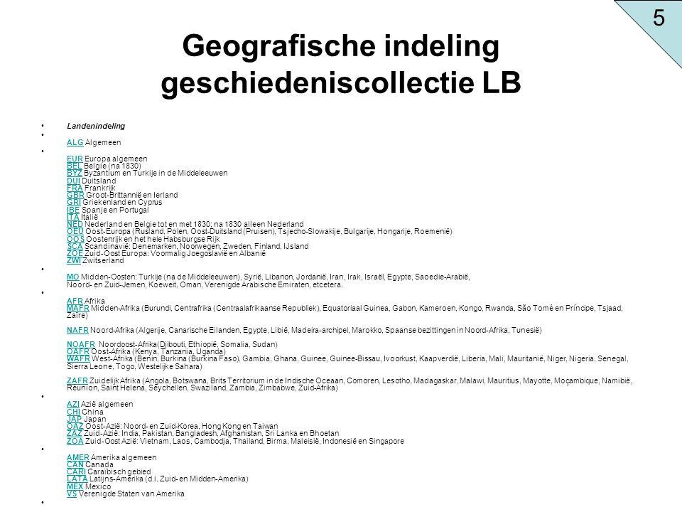 Geografische indeling geschiedeniscollectie LB