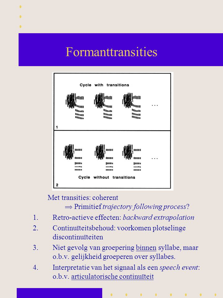 Formanttransities Met transities: coherent  Primitief trajectory following process Retro-actieve effecten: backward extrapolation.
