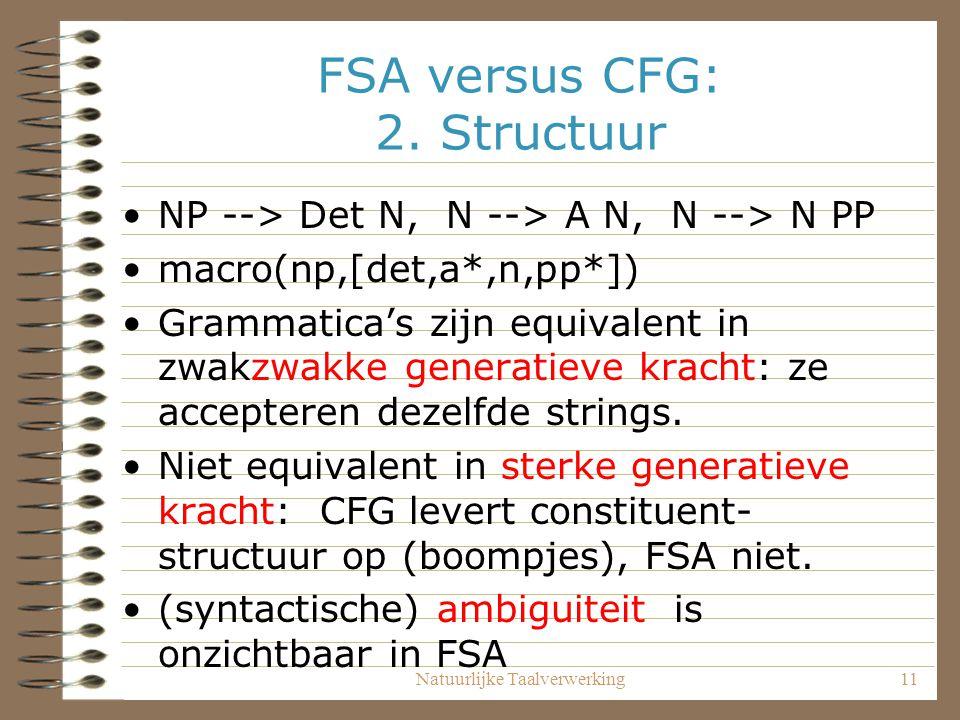 FSA versus CFG: 2. Structuur