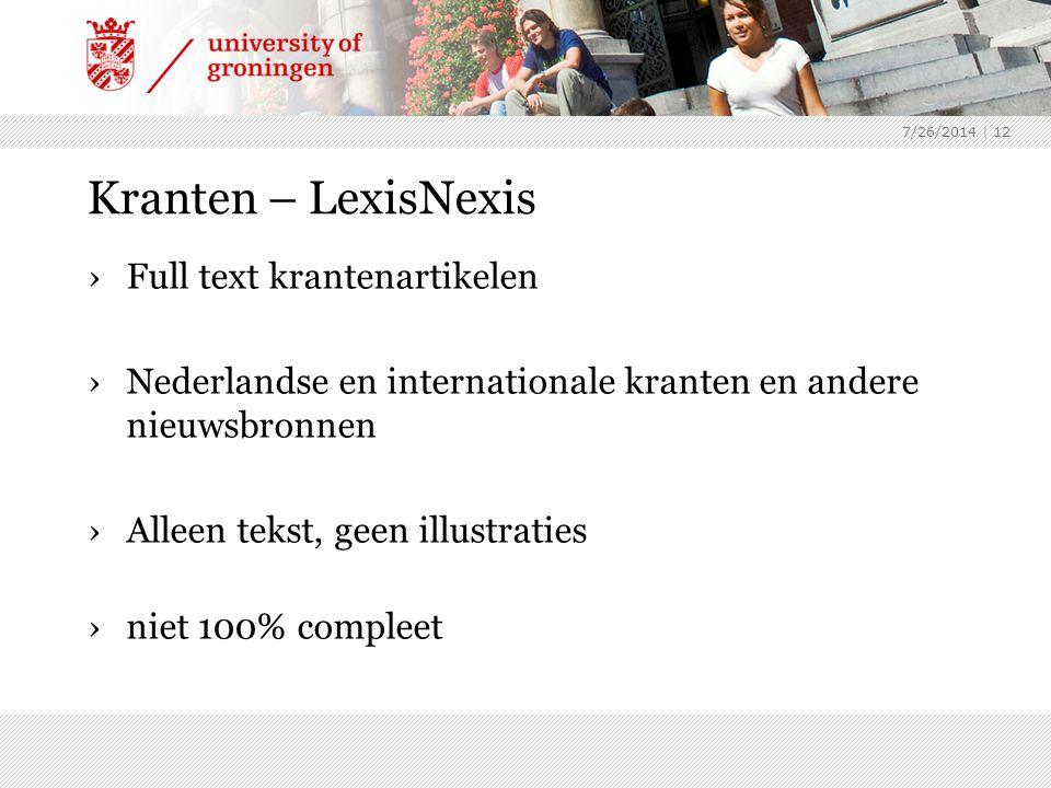 Kranten – LexisNexis Full text krantenartikelen