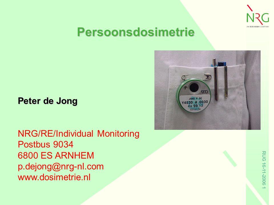 Persoonsdosimetrie Peter de Jong NRG/RE/Individual Monitoring