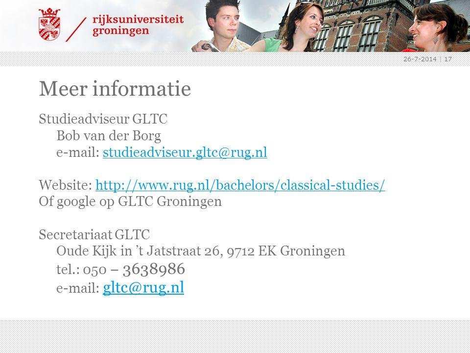 Meer informatie Studieadviseur GLTC Bob van der Borg