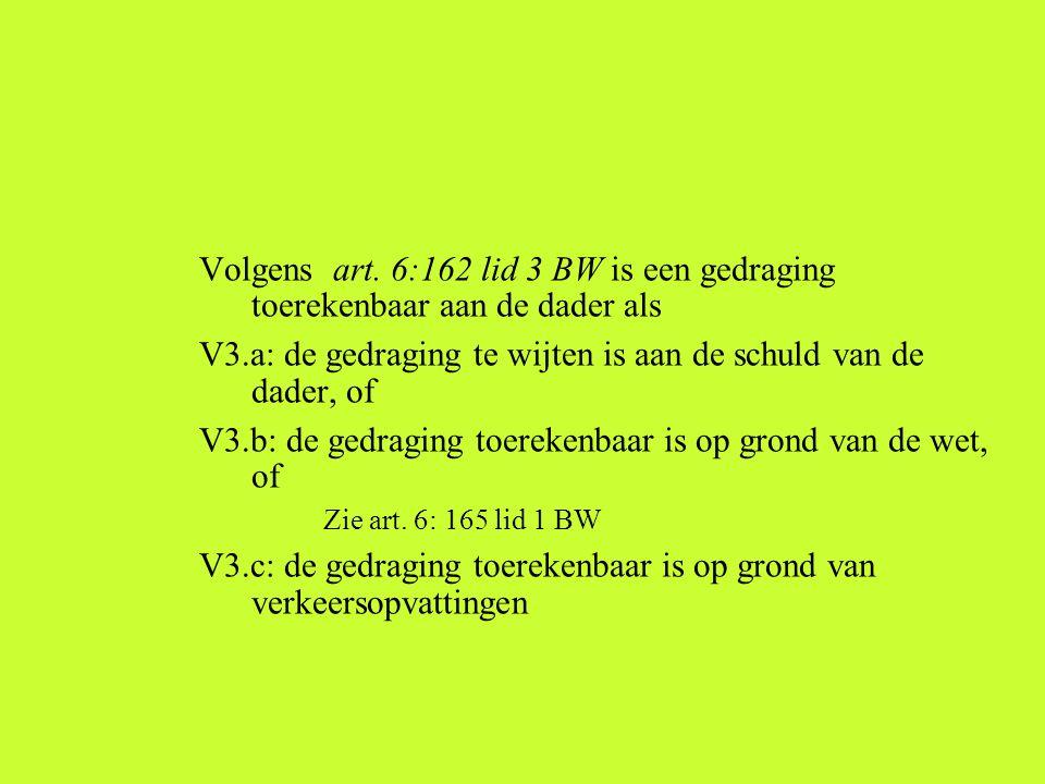Volgens art. 6:162 lid 3 BW is een gedraging toerekenbaar aan de dader als. V3.a: de gedraging te wijten is aan de schuld van de dader, of.