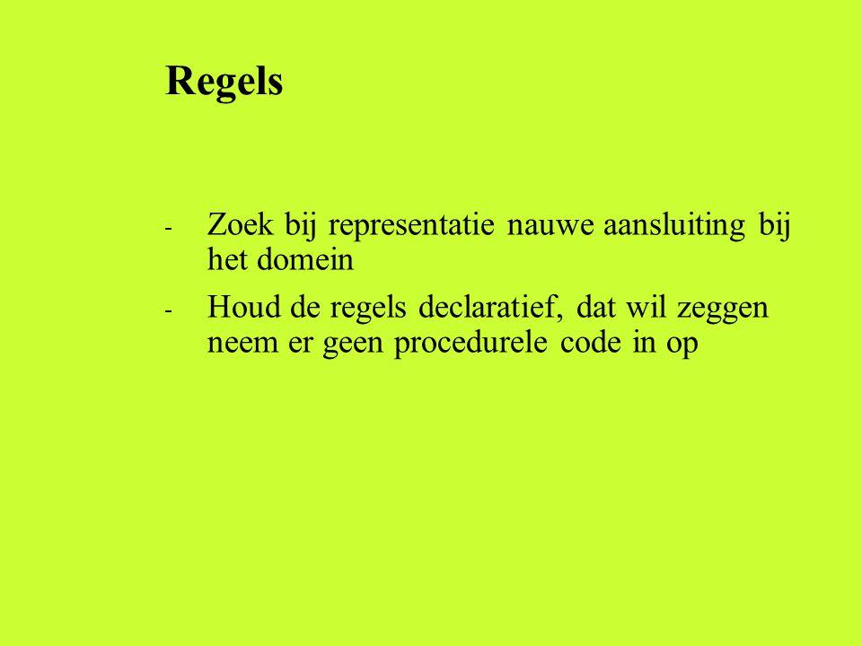 Regels Zoek bij representatie nauwe aansluiting bij het domein