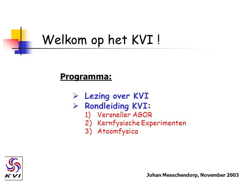 Welkom op het KVI ! Programma: Lezing over KVI Rondleiding KVI: