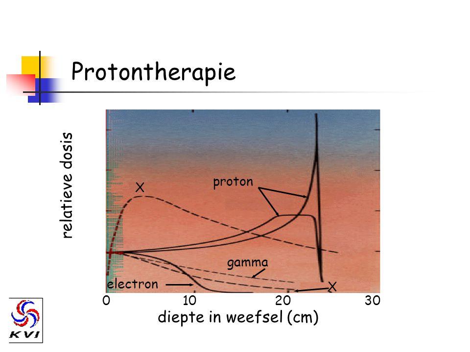 Protontherapie relatieve dosis diepte in weefsel (cm) proton X gamma