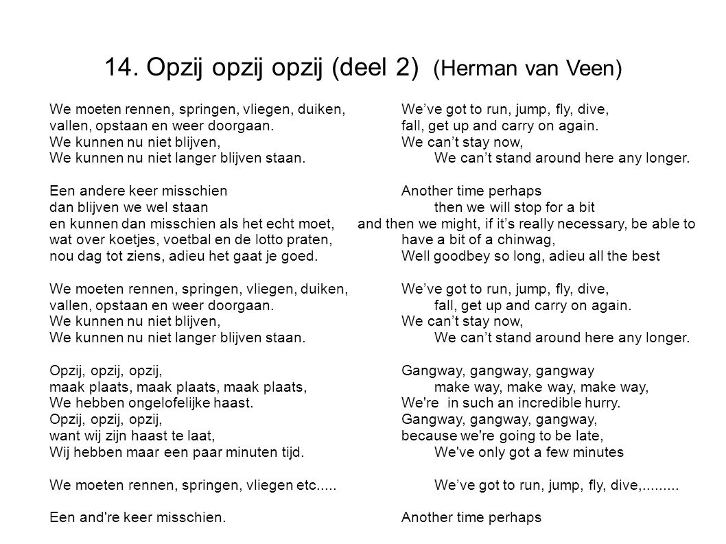 14. Opzij opzij opzij (deel 2) (Herman van Veen)