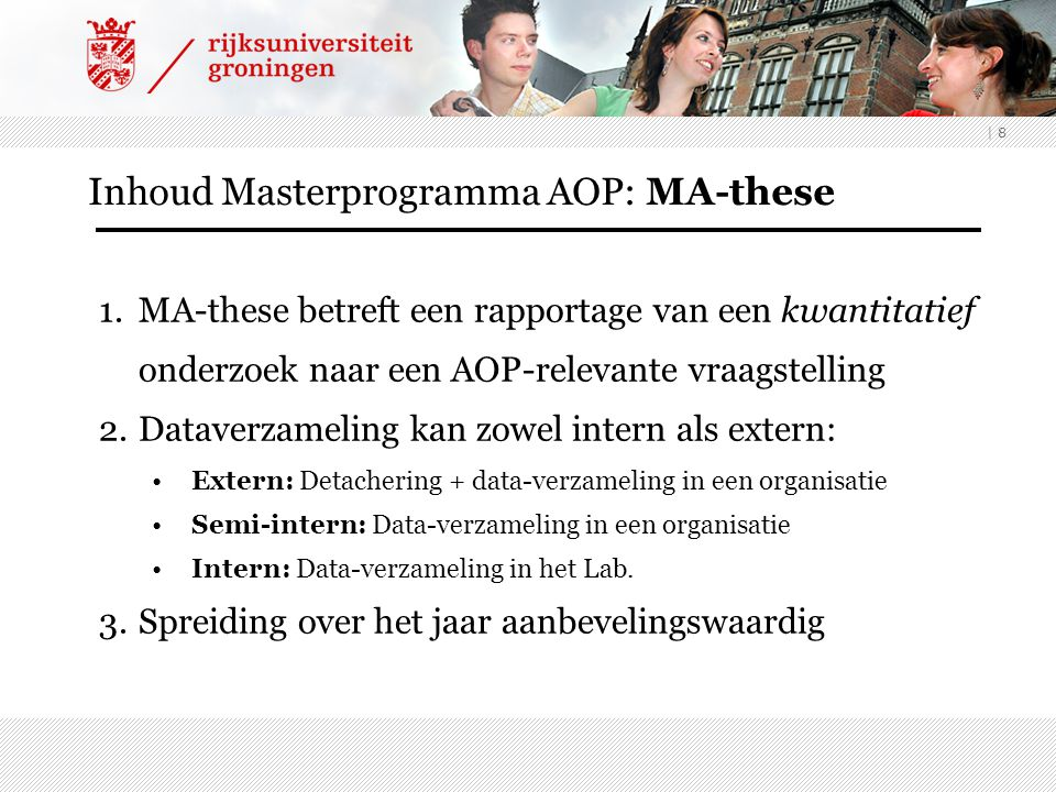 Inhoud Masterprogramma AOP: MA-these