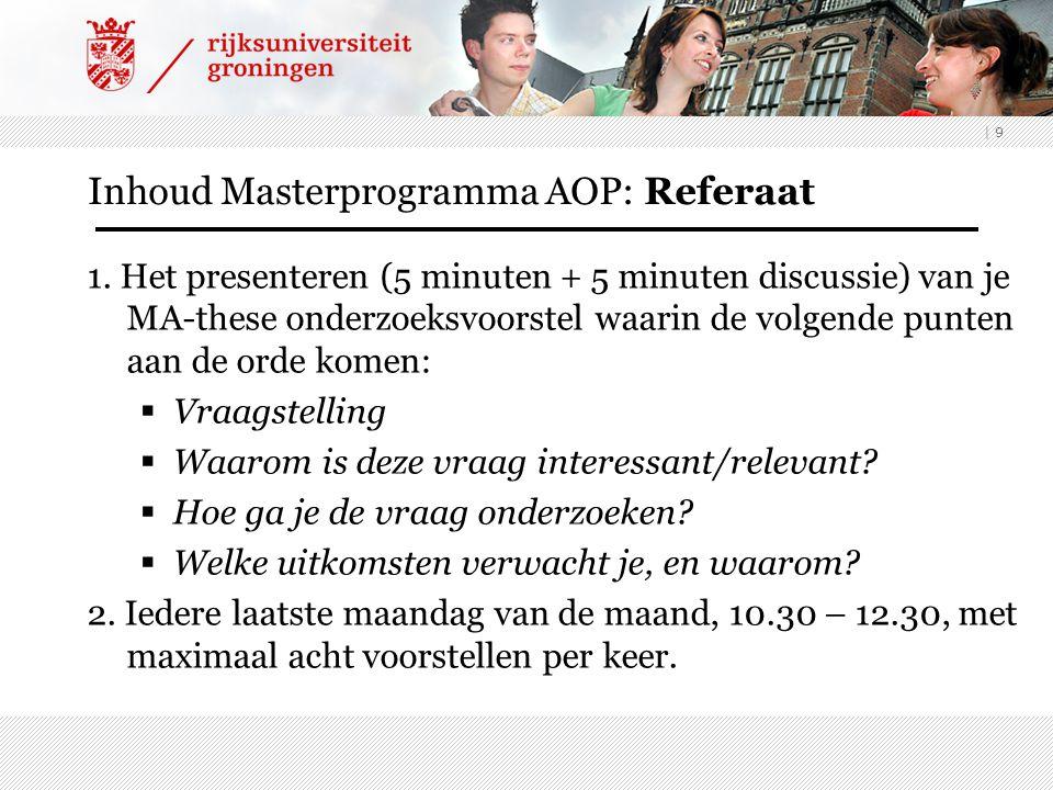 Inhoud Masterprogramma AOP: Referaat