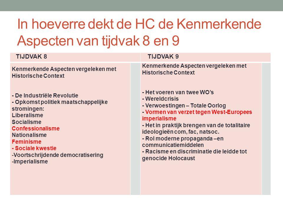 In hoeverre dekt de HC de Kenmerkende Aspecten van tijdvak 8 en 9