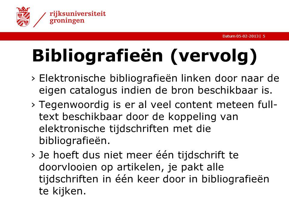 Bibliografieën (vervolg)