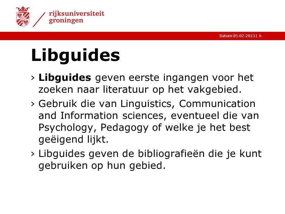 Libguides Libguides geven eerste ingangen voor het zoeken naar literatuur op het vakgebied.
