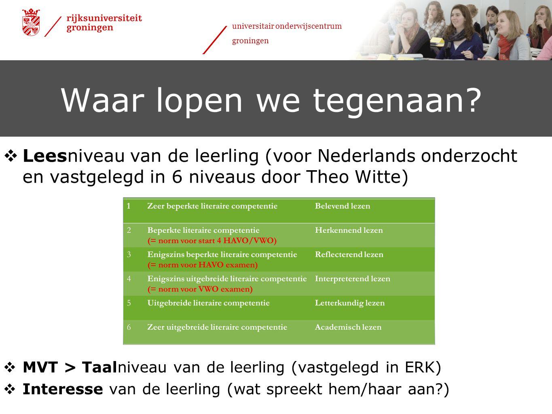 Waar lopen we tegenaan Leesniveau van de leerling (voor Nederlands onderzocht en vastgelegd in 6 niveaus door Theo Witte)